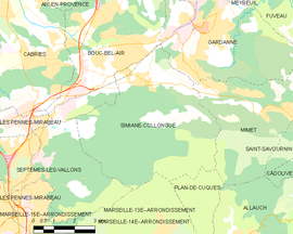 Mapa obce Simiane-Collongue