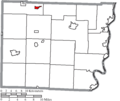 Map of Belmont County Ohio Highlighting Flushing Village.png