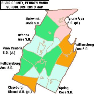 Blair County, Pennsylvania - Map of Blair County, Pennsylvania School Districts