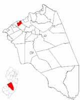 Edgewater Park highlighted in Burlington County. Inset map: Burlington County highlighted in the State of New Jersey.
