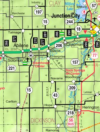 Dickinson County, Kansas - Image: Map of Dickinson Co, Ks, USA