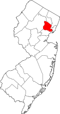 Kart over New Jersey med Essex County uthevet