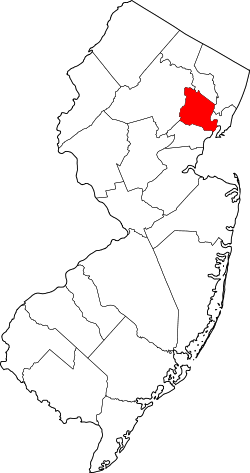 map of New Jersey highlighting Essex County