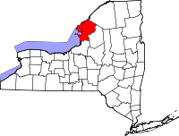 Map of New York highlighting Jefferson County