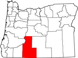 map of Oregon highlighting Klamath County