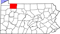 Map of Pennsylvania highlighting Warren County