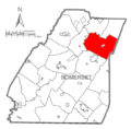 Map of Somerset County, Pennsylvania highlighting Shade Township.PNG