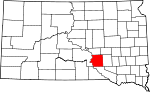 State map highlighting Brule County