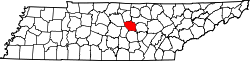 map of Tennessee highlighting DeKalb County