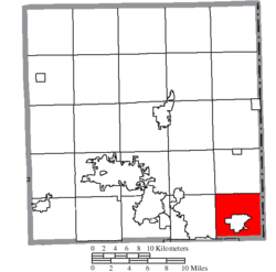 Location of Hubbard Township in Trumbull County