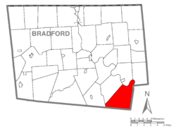 Map of Bradford County with Wilmot Township highlighted