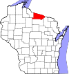 State map highlighting Vilas County