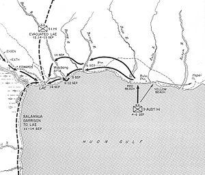 Landing at Lae - Map of the advance on Lae, September 1943