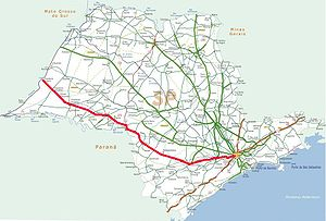 Rodovia Raposo Tavares - Image: Mapa Raposo Tavares