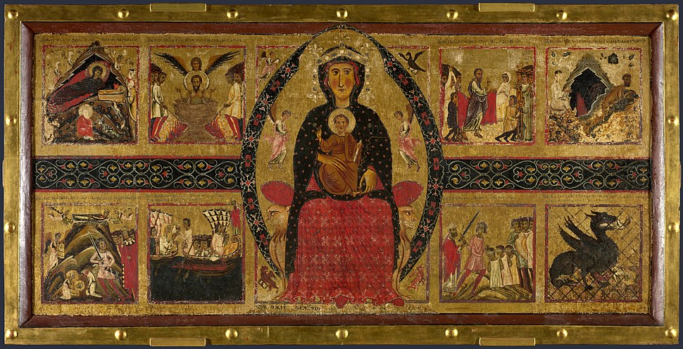 Margaritone d'arezzo madonna and child enthroned with narrative scenes london ng