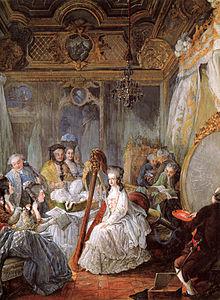 Maria Antonietta suona l'arpa, circondata da un gruppo di nobili, nella sua camera da letto a Versailles. Dipinto di Jean-Baptiste André Gautier-Dagoty (1777).