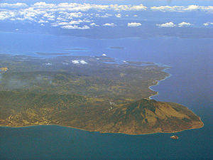 Mount Malindig - Aerial view of southern part of Marinduque with Mt. Malindig visible bottom right. On the foreground is Elephant Island known as the Bellarocca Island