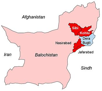 Map showing Marri tribal areas in Balochistan