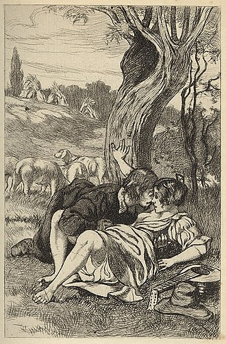 Foreplay - Martin van Maële's print Francion 15 depicts a couple engaging in foreplay outdoors