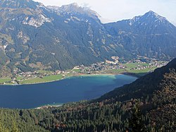 The village of Maurach on the shores of Achensee lake