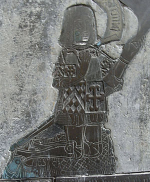 Maurice Denys (sheriff) - Maurice Denys, detail from Denys monumental brass of 1505 (see below) at Olveston Church, Glos. A non-contemporaneous depiction made 39 years after his death