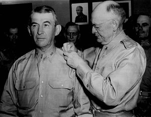 Walter Krueger -  Lieutenant General Herbert J. Brees (right) pins the third star on his successor in command of the Third Army, Walter Krueger (left), on 17 May 1941, in San Antonio, Texas.