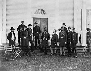 Andrew A. Humphreys - Generals Andrew A. Humphreys, George G. Meade and staff in Culpeper, Virginia outside Meade's headquarters, 1863.