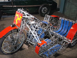 James May's Toy Stories - Meccano Motorcycle on display at the National Motor Museum in Beaulieu.