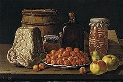 Luis Eugenio Meléndez: Nature morte aux fruits et fromage