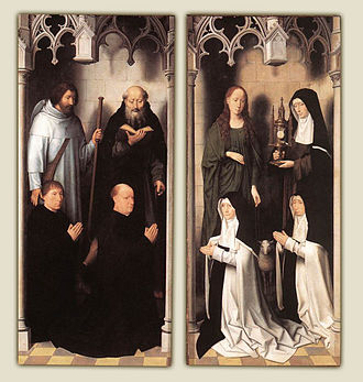 St John Altarpiece (Memling) - With the shutters closed, the two outer panels reveal the donors kneeling in front of their patron saints