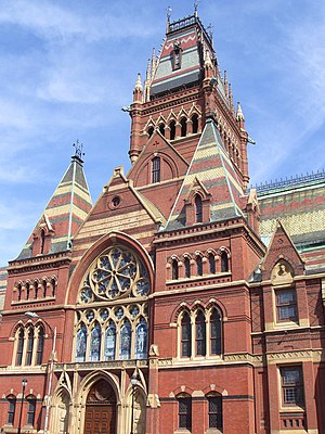 History of college campuses and architecture in the United States - Memorial Hall at Harvard University, an example of Ruskinian Gothic
