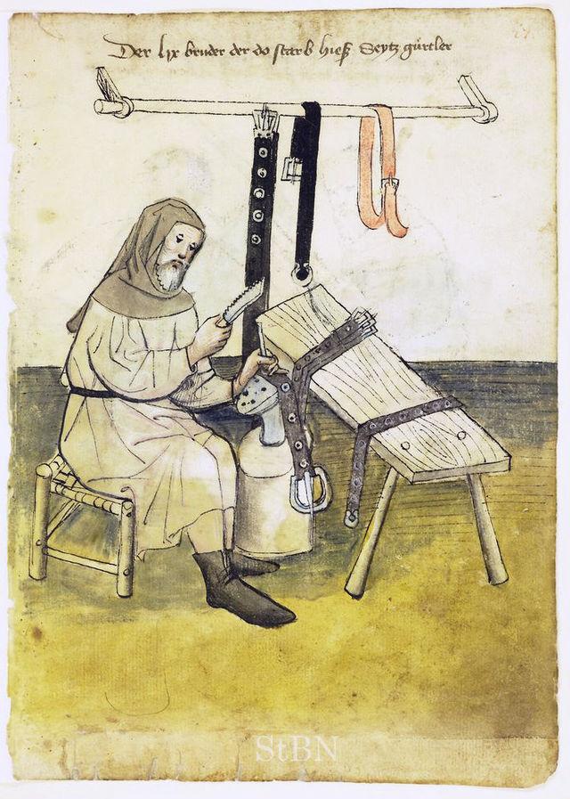 Gürtler im Hausbuch der Mendelschen Zwölfbrüderstiftung zu Nürnbergg, um 1414 (Stadtbibliothek Nürnber, Amb. 317.2°, fol. 27r.)