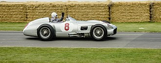 Mercedes-Benz W196 - Stirling Moss presenting a W196  at the 2014 Goodwood Festival of Speed