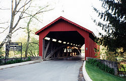 A covered bridge at Messiah College in Upper Allen Township