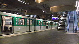 Paris Métro Line 12 - Front Populaire in the southern fringe of Aubervilliers is the first modernized station of Line 12