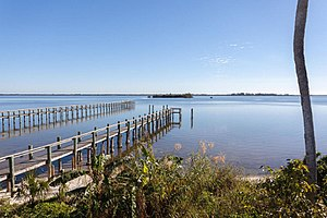 Micco, Florida - Two piers off the coast of Micco, Florida