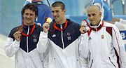 Michael Phelps Ryan Lochte Laszlo Cseh medals 2008 Olympics.jpg
