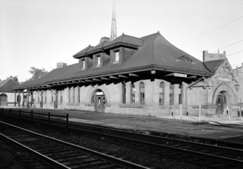 Erie Railroad, Middletown Station, James Street, July, 1971. The tracks have been removed, and the station is now Thrall Library