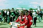 Mika Hakkinen in the paddock before the 1993 British Grand Prix (32873463093).jpg