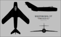 Mikoyan-Gurevich MiG-17F three-view silhouette.png