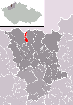 Location of Mikulov within Teplice District