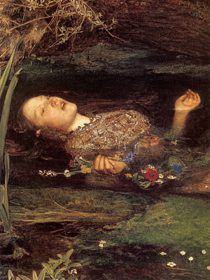 Detail from Millais' famous portrait of Ophelia