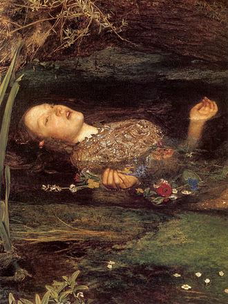 Ophelia (painting) - Image: Millais Ophelia (detail)