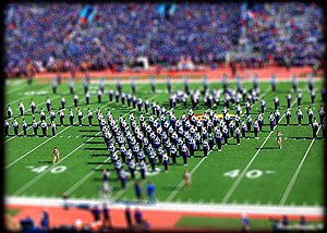 Kansas–Kansas State football rivalry - The KSU Marching Band performs at halftime of the Sunflower Showdown in Lawrence in 2008