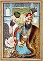 "Miniature pasted on cardboard. ""Karim Khan Zand with the Ottoman Ambassador Vehbi Effendi"". Attributed to Abu'l Hasan Mustawfi Iran; 1775- Sahand Ace.jpg"
