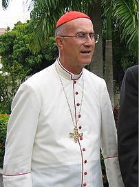 Tarcisio Cardinal Bertone wearing the white ca...