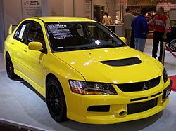 Mitsubishi Lancer Evolution IX yellow vr EMS.jpg
