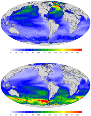 Mixed layer - Mixed layer depth climatology for boreal winter(upper image) and boreal summer(lower image).