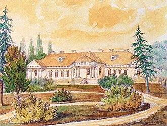 Andrzej Ciechanowiecki - Skirmunt Palace in Mołodów, watercolour by Napoleon Orda 1864