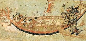 Naval history of Japan - Japanese samurai boarding Mongol ships in 1281. Mōko Shūrai Ekotoba (蒙古襲来絵詞), circa 1293.